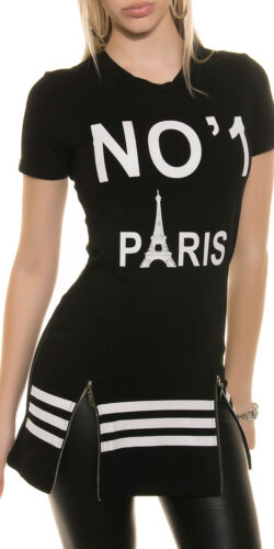 """Longshirt No./"""" 1 /"""" Paris Shirt Top S M L 36 38 40 Oberteil Bluse Rundhals Cotton"""