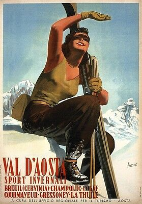 Val d'Aosta Skiing 1947 - Italy, Italian vintage old repro travel poster