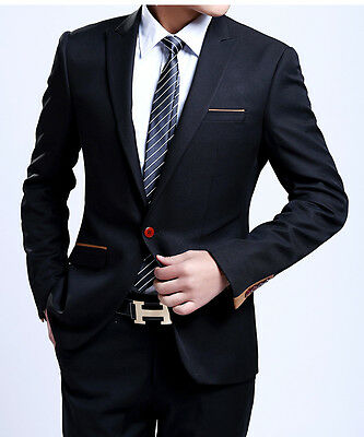 SA19 New Black Men's fashion dress Casual Business Suit One Botton Slim fit Suit