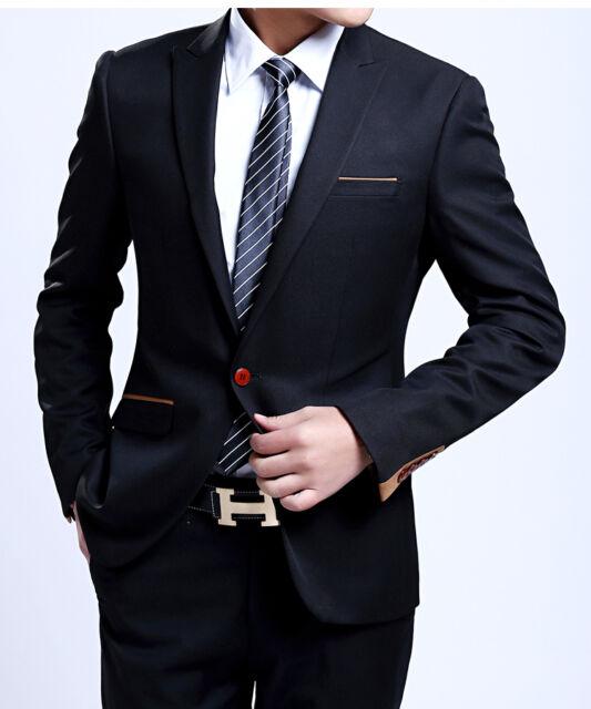 SA19 New Black Men's fashion dress Casual Business Suit One Botton Slim fit Suit