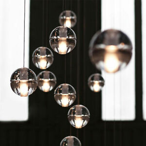 Cluster-Pendant-Modern-G4-LED-Bubble-Crystal-Glass-Ball-Staircase-Ceiling-Light