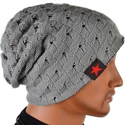 NEW Casual Men Knit Beanie Reversible Baggy Cap Skull Chunky Winter Hats Acrylic