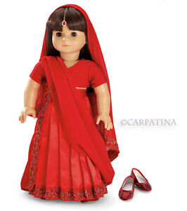 "Doll Clothes AG 18"" Dress Indian Sari Red Made For ..."