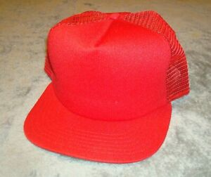 VTG-NEW-ERA-PRO-DESIGN-HAT-MESH-SNAP-BACK-80s-CAP-DUPONT-VISOR-TRUCKER-USA-RED