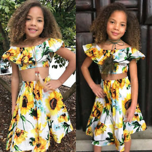 50ab26d2fa4 Flowers Kids Baby Girl Off Shoulder Crop T-shirt Tops Dress Skirt ...