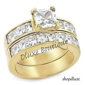 ct princess cut aaa cz k gold plated wedding ring