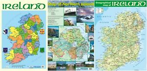 Map Of Ireland Northern Ireland.Details About Map Of Ireland Northern Ireland Irish Counties Map 3 Posters A2 Size