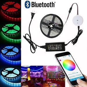 RGB-5050-IMPERMEABLE-Guirnalda-led-luz-Cinta-Lampara-Bluetooth-Control