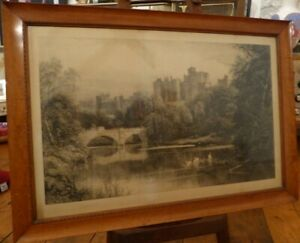 ALNWICK-CASTLE-Veduta-Antique-engraving-etching-print-1888-SIGNED-David-Law