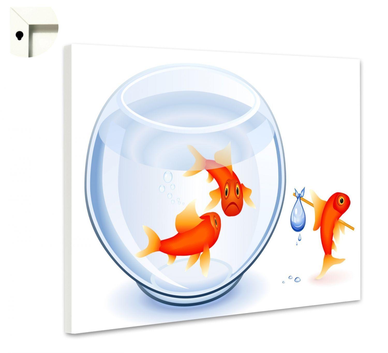 Magnettafel Pinnwand Memoboard Motiv Tiere Goldfisch zieht aus