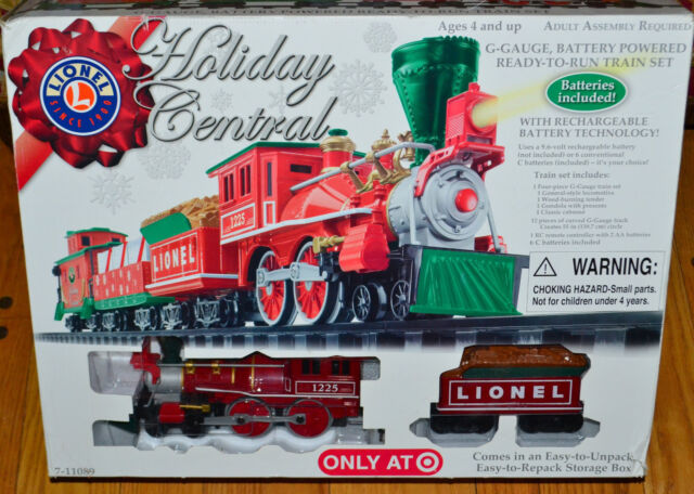 g model train lionel holiday central christmas train set battery operated remote