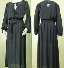 New FREE PEOPLE VINTAGE PEASANT BLACK LONG SLEEVE MAXI DRESS WITH SIDE SLITS 6