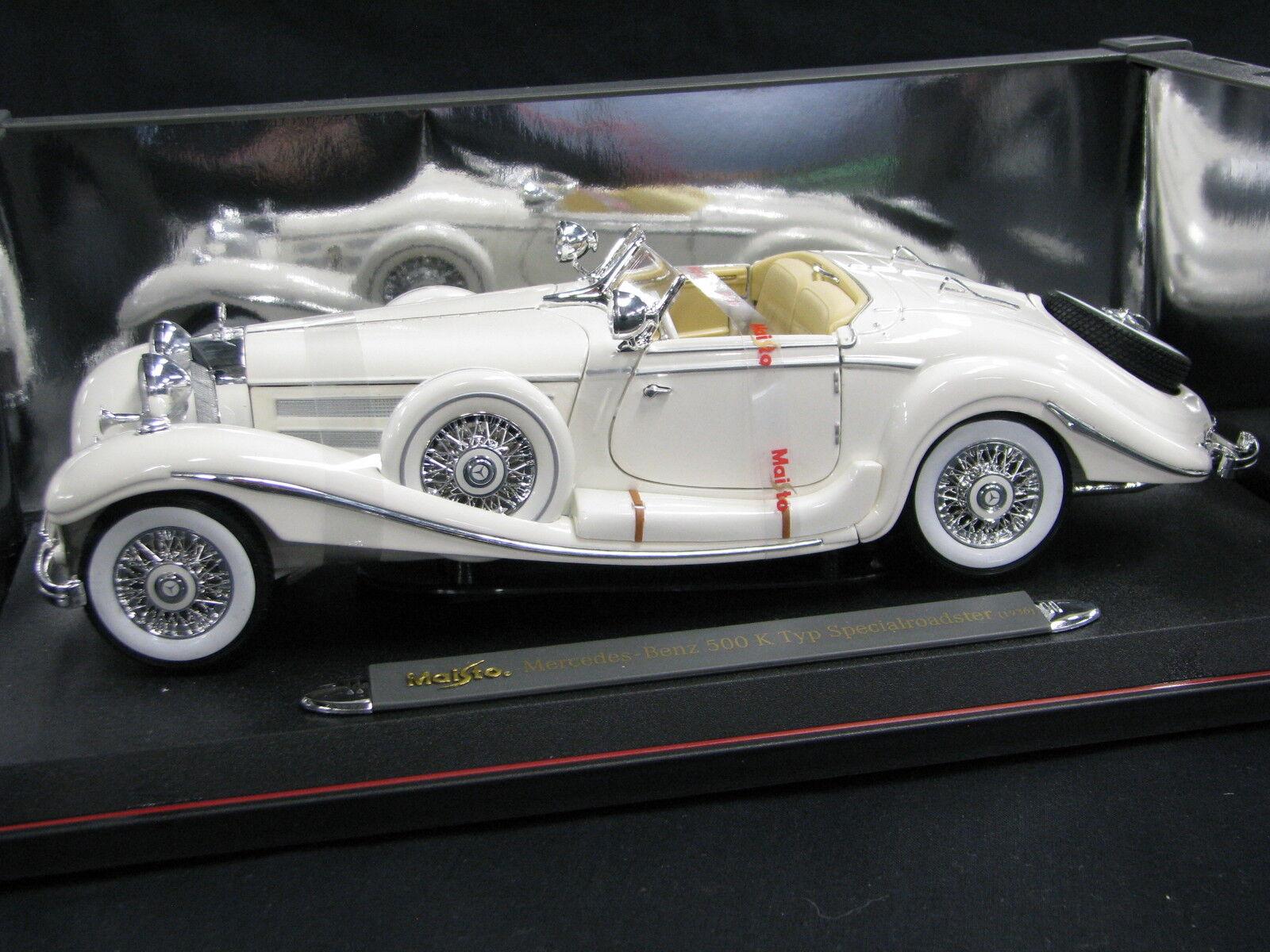 Maisto Mercedes-Benz 500 K Typ Specialroadster 1936 1 18 blanco (JS)