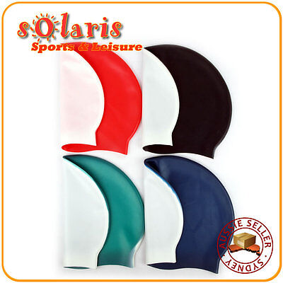 3x Silicone Swim Caps Dual Split Colored One Size Fit All for Adult and Teenager