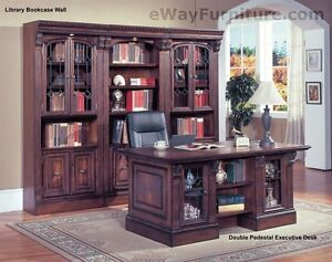 Image Is Loading TRADITIONAL HOME OFFICE  FURNITURE WOOD DOUBLE PEDESTAL EXECUTIVE