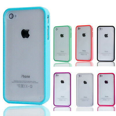 1Pcs TPU Bumper Frame Clear Hard Back PVC Case Cover Skin for iPhone 4 G 4Gs 4S