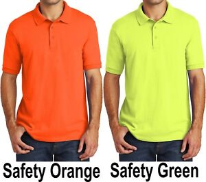 58869f99 Big Mens Polo Shirt Cotton/Poly Moisture Wicking Golf SAFETY GREEN ...