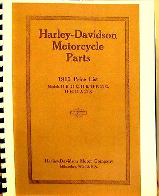 1915 Harley-davidson Moto Parti Manuale Per Mdls.11-b, 11-c, 11-e F, G, J, K