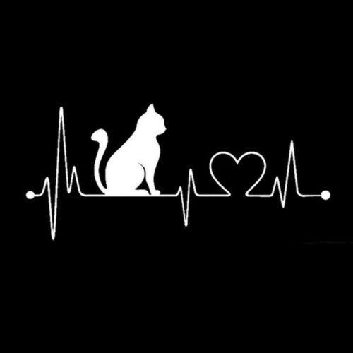 Pet Cat Heartbeat Lifeline Vinyl Decal Creative Car Stickers Car Wall StyliBLUS