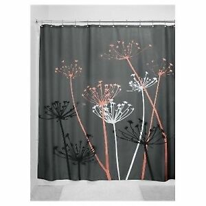 Floral Fabric Shower Curtain 72 X Inch Gray Coral For Sale Online