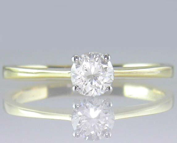 Diamond Solitaire Round Ring Certified 0.39ct H VS2 VG Brilliant 18ct gold