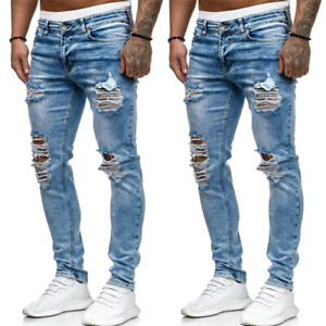 Uomo-destroyed-STRETCHY-RIPPED-JEANS-DENIM-PANTALONI-SLIM-FIT-Distressed-Jeans-Pantaloni