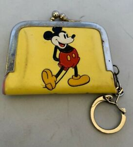 Vintage-Disney-Productions-Mickey-Mouse-Purse-Wallet-Yellow-Vinyl-Keychain
