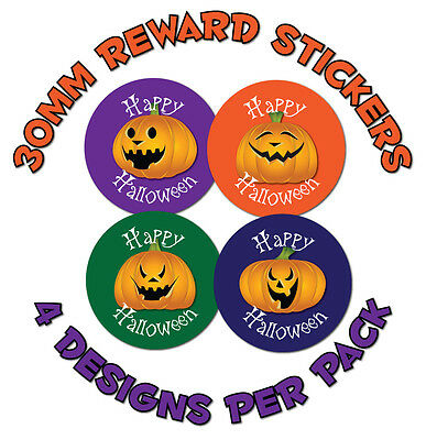Halloween, Trick or Treat stickers, 30mm - Pumpkin designs - Various quantities