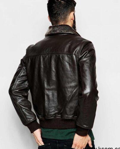 Men/'s Real Fur Collar Leather Jacket Classic Lambskin bomber Biker Brando jacket