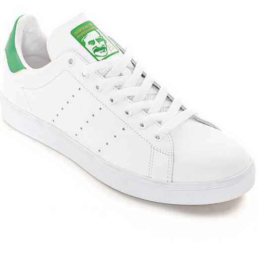 NEW homme US 4 6.5 9 12 ADIDAS STAN SMITH VULC blanc GREEN SKATE chaussures B49618