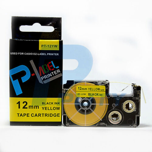 2PK Compatible Casio XR-12YW Black on Yellow Label Tapes XR-12YW1 KL60 EZ Labels