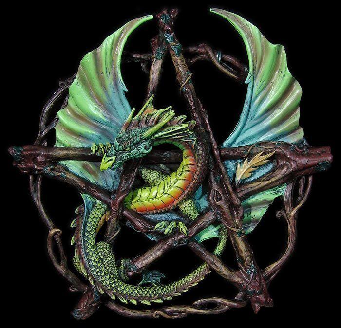 Pentacolo con Dragon Foresta - Anne Stokes - Decorazione Fantasy da Parete