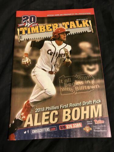 2018 Williamsport Crosscutters Program issue 2 Alec Bohm Philadelphia Phillies