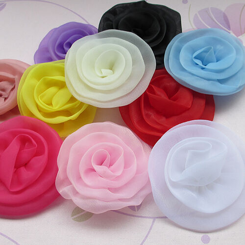 20/100pcs Big Organza Ribbon Flowers Sewing Appliques Crafts Wedding Decor E197