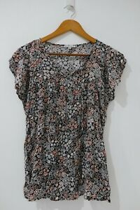 Target-Collection-Blouse-Size-12-Multicolored-Floral-Pattern-Short-Sleeve