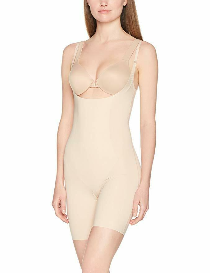 SPANX Women's Thinstincts Open-Bust Mid-Thigh Bodysuit Soft Nude Small
