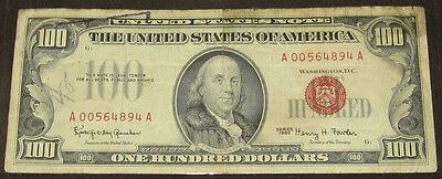 1966 Red Seal U.S. $100 Bill Circulated One Hundred Dollar Note, Sold As Is