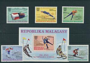 Madagascar-Olympia-1976-Innsbruck-Mi-802-806-Bl-13-Neuf-MNH-or-Gez