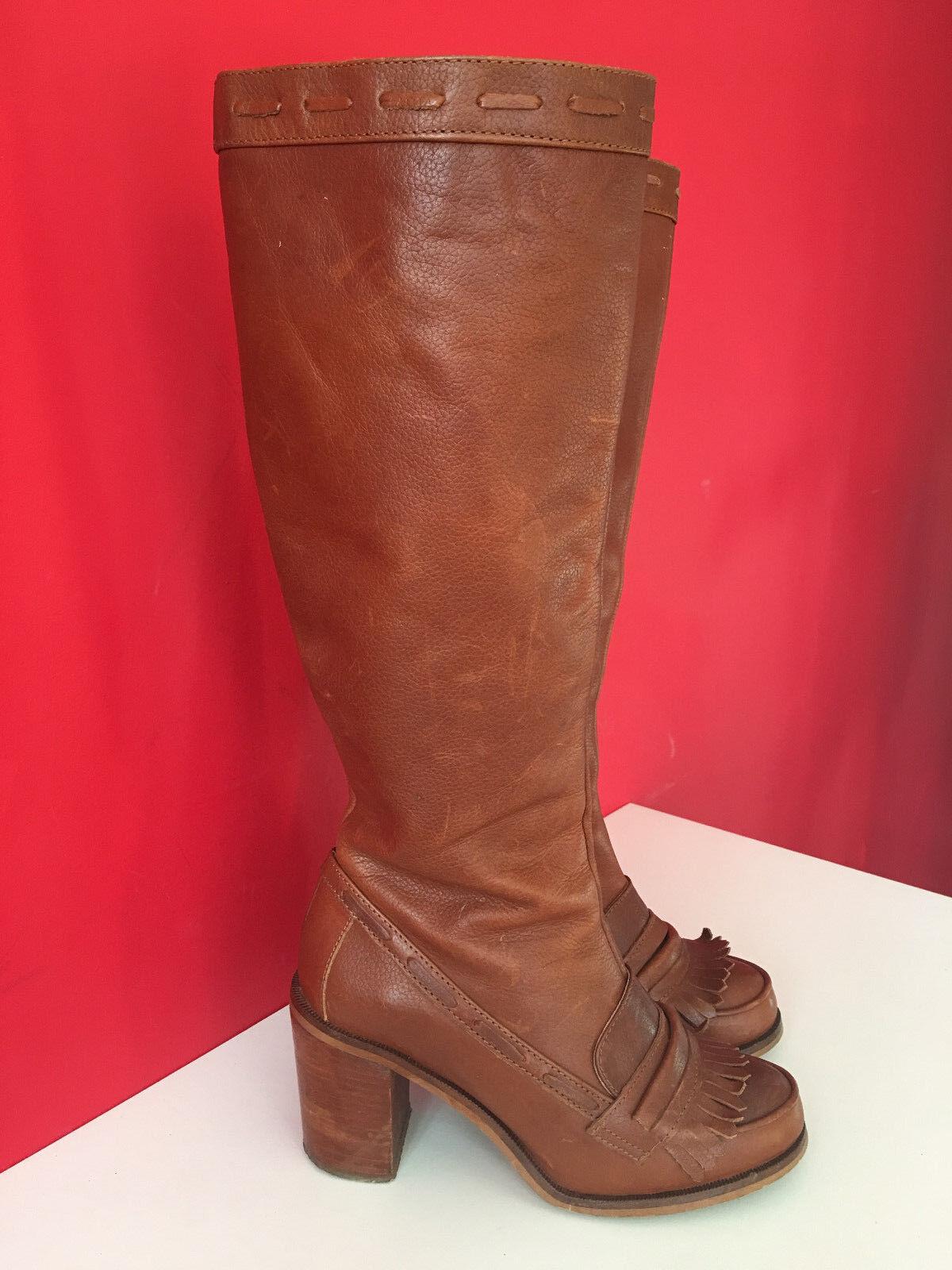 OFFICE braun Leather Retro Brogue Fringe Side Zip Knee High Stiefel Größe 5 EUR 38