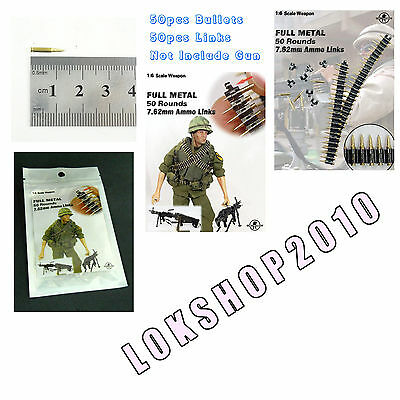1//6 Scale Dr.Figures MG Full Metal Ammo Links 50 Rounds 7.62