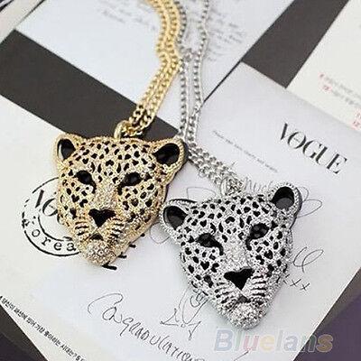Vogue Fashion Retro Vintage Charm Hollow Leopard Head Pendant Necklace BE7A