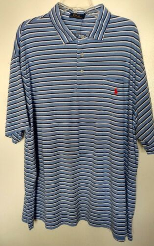 Polo Ralph Lauren 100/% cotton classic blue  striped s//s polo shirt size 3XB