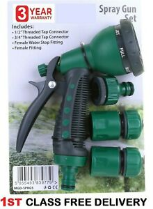 Hose Pipe Fittings Nozzle Connector Water Spray Gun Set Outdoor Garden Hosepipe