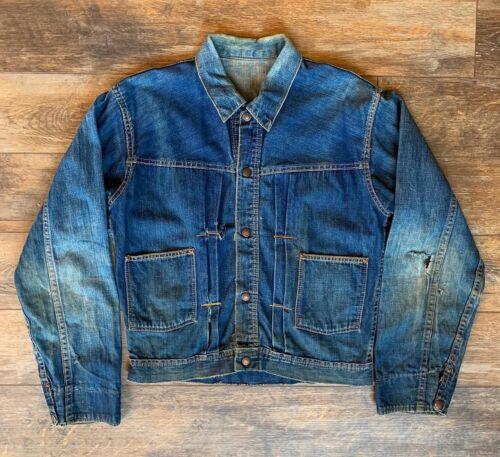 Vintage 1940s Type 1 Denim Jacket Perfectly Distre