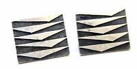 BIG & RARE Vtg 1950s Modernist FITHIAN Sterling Silver GEOMETRIC Cufflinks