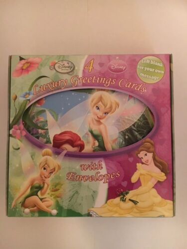 Disney Princess//Fairy Greetings Cards Pack Of 4 With Envelopes