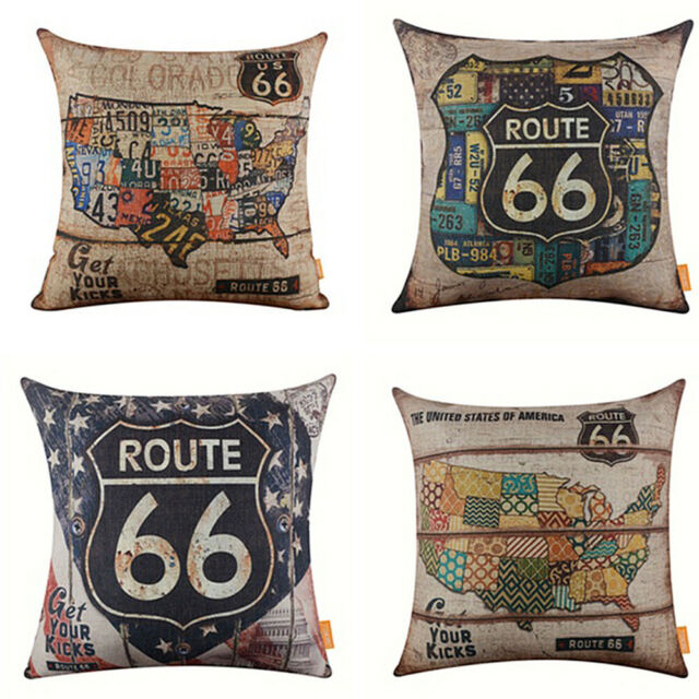 GI- Vintage American Map Route 66 Linen Pillow Case Cushion Cover Home Cafe Deco