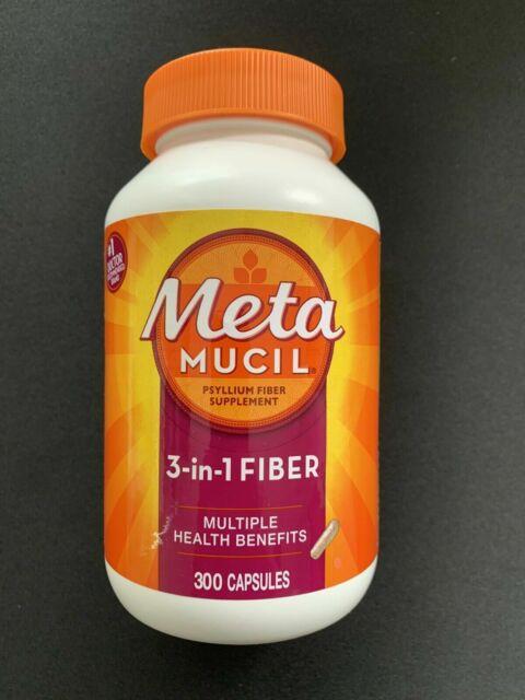 METAMUCIL 3-IN-1 MULTI HEALTH FIBER PSYLLIUM FIBER CAPSULES 300 CAPS,Exp- 06/24