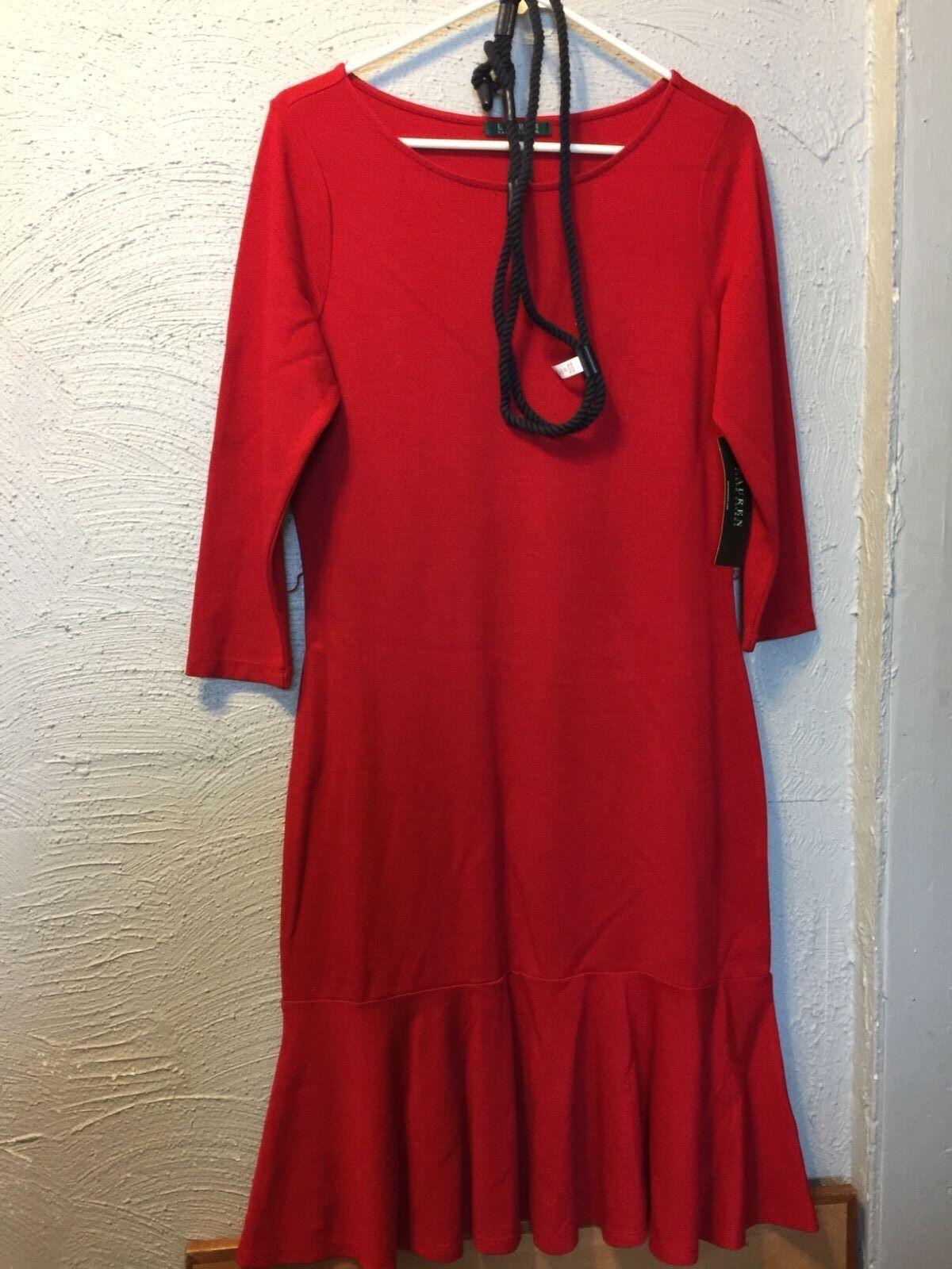 NWT Ralph Lauren Red Drop Waist Tiered Dress w Navy Belt - Size M  MSRP  155.00
