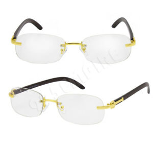 ab1cf73974 Details about For Men s Rx Gold Color Metal Wood Effect Frames Eye Glasses  Rimless Clear Lens